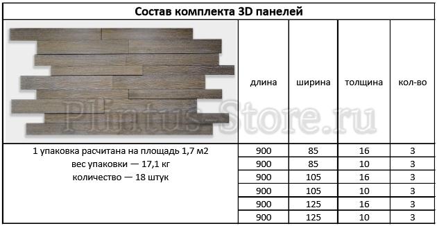 3д стеновые панели спецификация